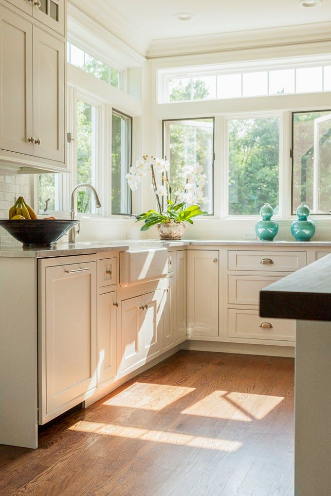 657 best kitchen and dining images on pinterest for Kitchen designs with corner windows