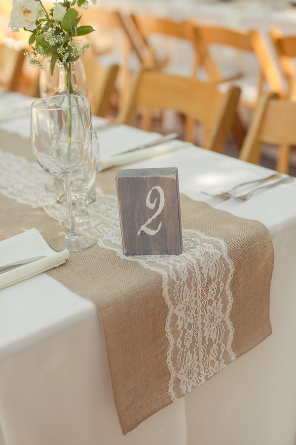 burlap lace table runner holman ranch wedding carlie statsky photography carmel valley