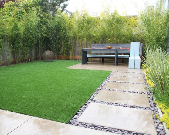 , Modern Contemporary Garden Design Ideas With Adorable Green Field Also Glossy Concrete Steps And Pebble Ornament Also Wooden Also Appealing Bamboo Plants As Garden Ornament: Small Back Garden Designs and Ideas