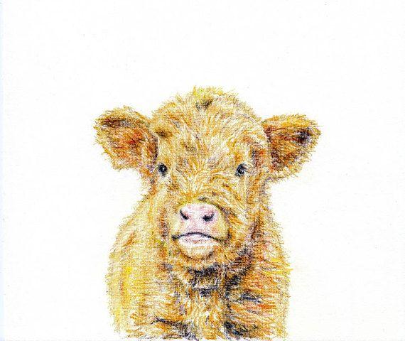 Baby animal print for nursery calf digital download