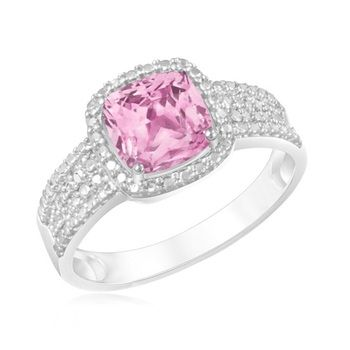 2 Carat Created Pink Sapphire Ring in Sterling Silver