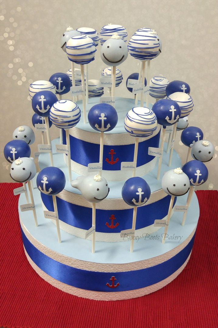 Nautical Cake Pops w/custom display stand @ www.bunnybootsbakery.com