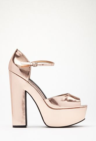 Faux Patent Platform Pumps | FOREVER21 - 2000100666 SILVER SIZE 6 #Forever Holiday