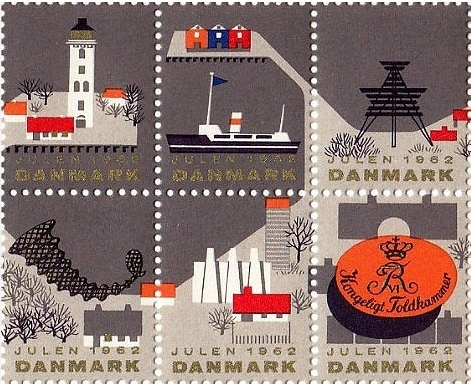 Vintage Danish postage stamps, 1962. Love the illustrations and the color palette.
