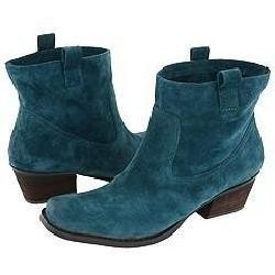 Ankle High Turquoise Suede Western Style Boots.