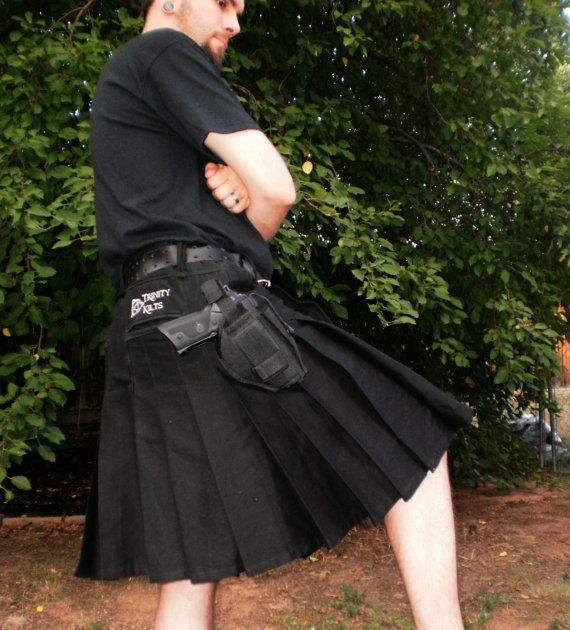 Trinity Tactical Kilt shown in Black by Trinitykilts on Etsy, $160.00
