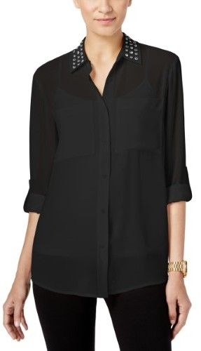 MICHAEL Michael Kors Womens Studded Collar Sheer Button-Down Top