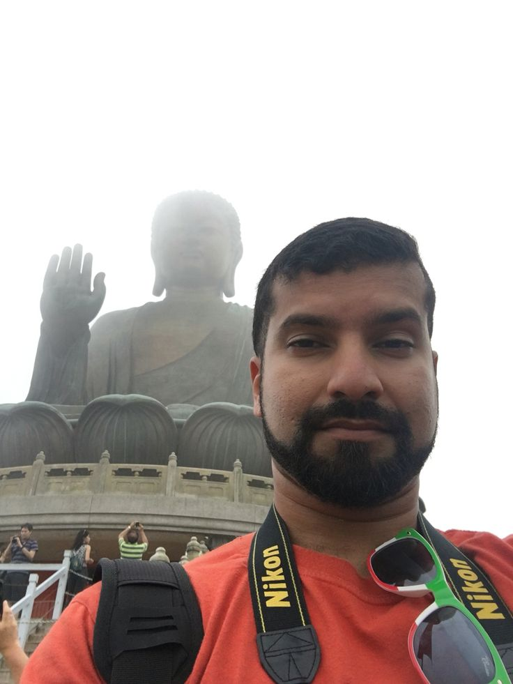 At the Big Buddha statue on Lantau Island, Hong Kong