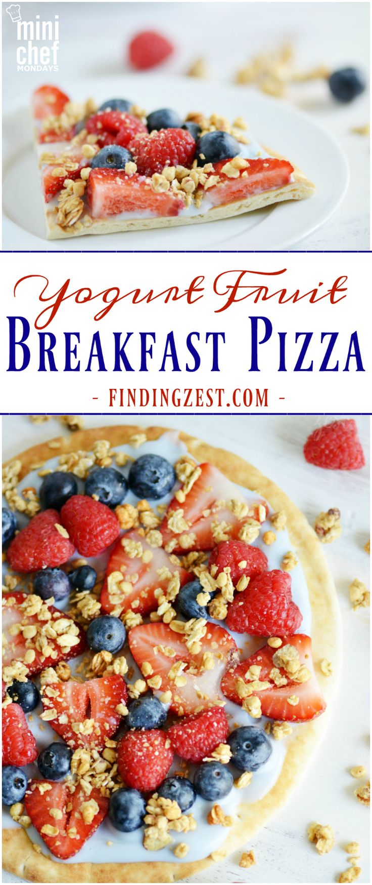 Yogurt Fruit Breakfast Pizza- Give this kid friendly yogurt fruit breakfast pizza recipe a try! This no bake breakfast pizza requires only a few simple ingredients and tastes so good!
