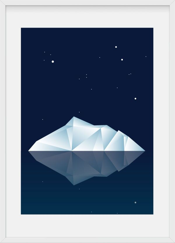 Iceberg, illustration by Julia Kaiser #iceberg #glacier #symmetry #geometry #material #marble #concrete #multifaceted #polyhedra, #minimalism #crystal #facets #blue #water #ice #snow #winter #polar #arctic #northpole  #children #kidsrooms #poster #artprint #limitededition