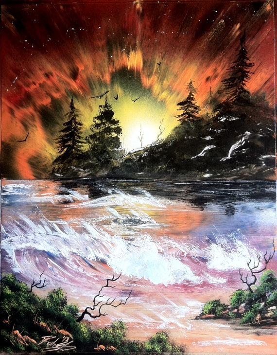 Sunset Aurora 14x18 inch spray painting by RS10SprayPaint on Etsy, $70.00