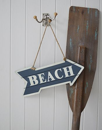 A beach sign, coastal accessories for the home. Ideas and designs in furniture and accessories for decorating your white home from The White Lighthouse www.thewhitelighthousefurniture.co.uk