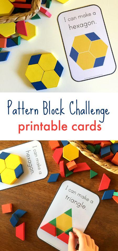Pattern block printable cards, exploring pattern activities, shape activities using blocks, math activities for block center #mathforpreschoolers