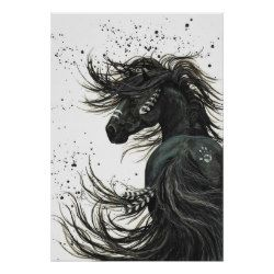 Majestic Mustang by BiHrLe Black Horse Poster | Zazzle.com