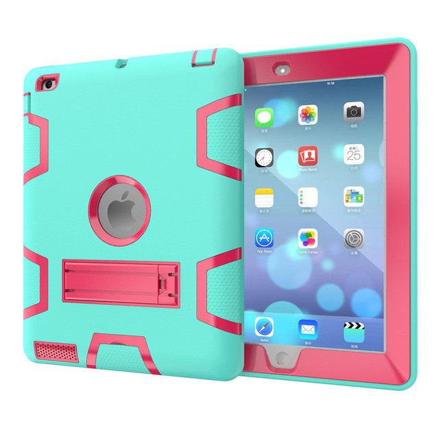 Canton Nalley For Apple iPad2 iPad3 iPad4 Kids Safe Armor Shockproof Heavy Duty Silicon+PC Stand Back Case Cover For ipad 2 3 4