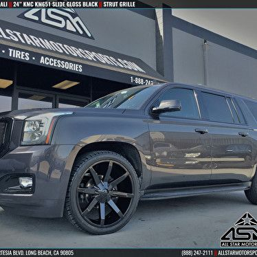 "Gray GMC Yukon Denali XL Rolling 24"" KMC KM651 Slide Gloss Black Wheels"