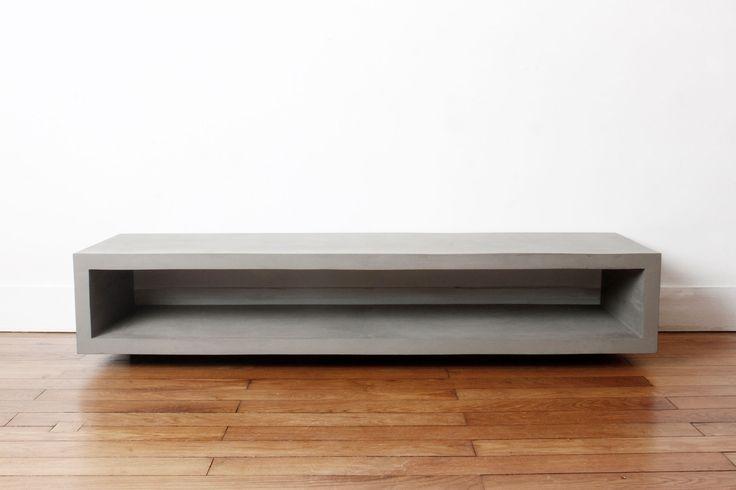 Monobloc concrete TV bench | Lyon Béton