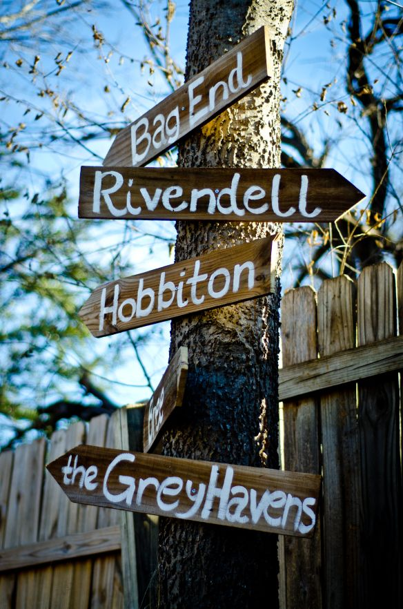 Yard sign I made for the Hobbit Party.  And will keep up for ever.