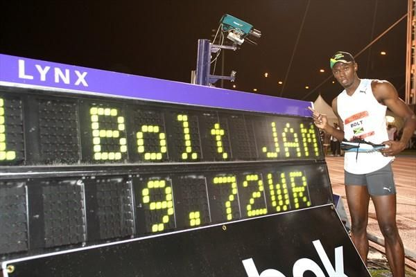 May 31, 2008 - #UsainBolt established a 100 m world record with 9.72 s at the Reebok Grand Prix.