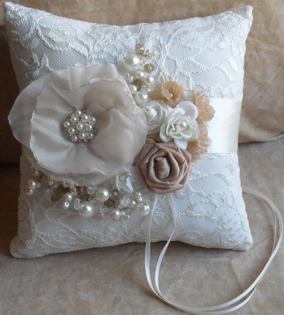 Champagne and Ivory Ring Bearer's Pillow with Ivory Lace by NellieKatzDesigns, $32.50