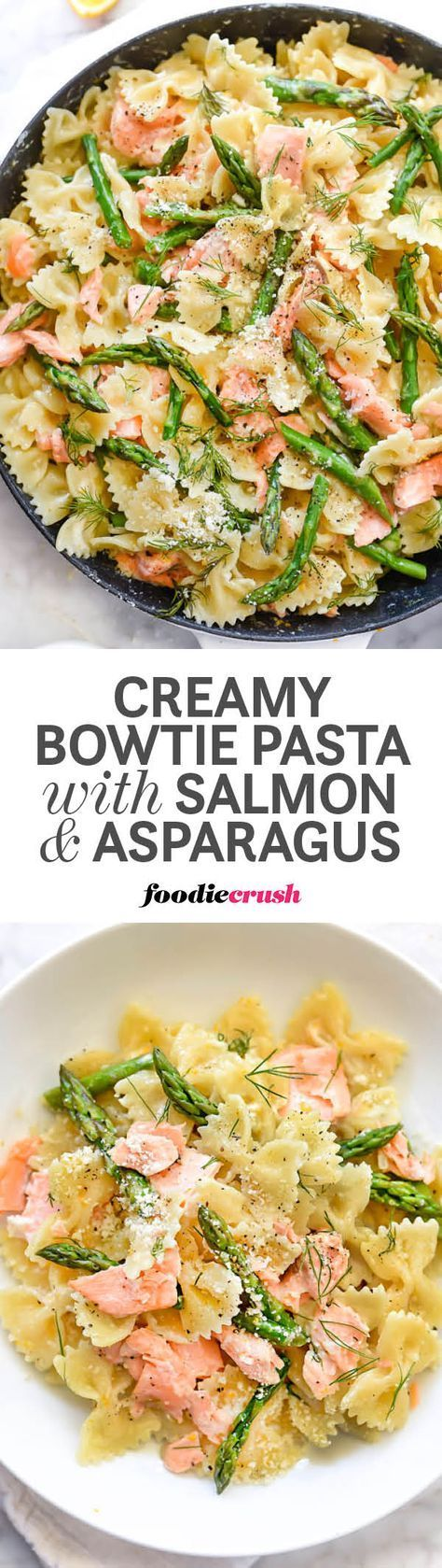 Leftover salmon gets a recipe upgrade with bowtie pasta, fresh asparagus, and dill in this super simple Parmesan cream sauce that makes meal prep a breeze | http://foodiecrush.com #pasta #salmon (salmon recipe pasta)