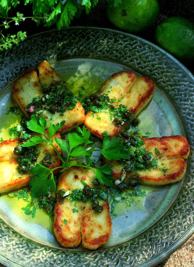 Fried Halloumi Cheese with Lime and Caper Vinaigrette from Delia Smith. This delicious vegetarian recipe is perfect for a sunny day!