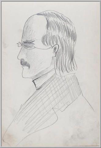Mario Tozzi 1912: Ritratto di Professore III Disegno matita e inchiostro - cm.11x17 - Collezione eredi Brunetti-Laderchi Bologna - Archivio n.403.