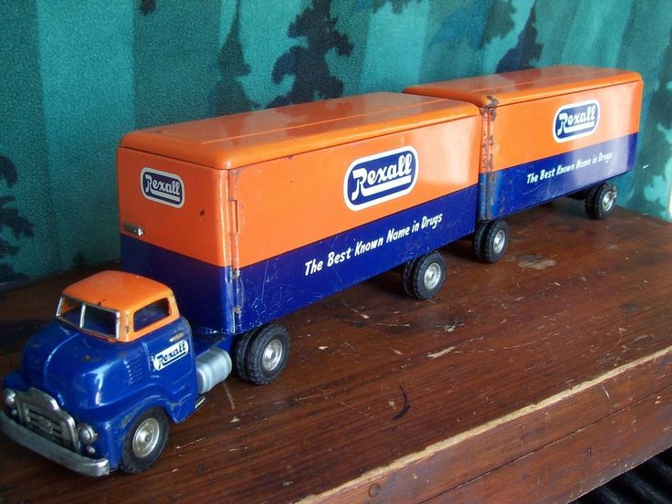 Toy Tractor Trailer Trucks : S japan tin toy gmc rexall drugs store tandem tractor