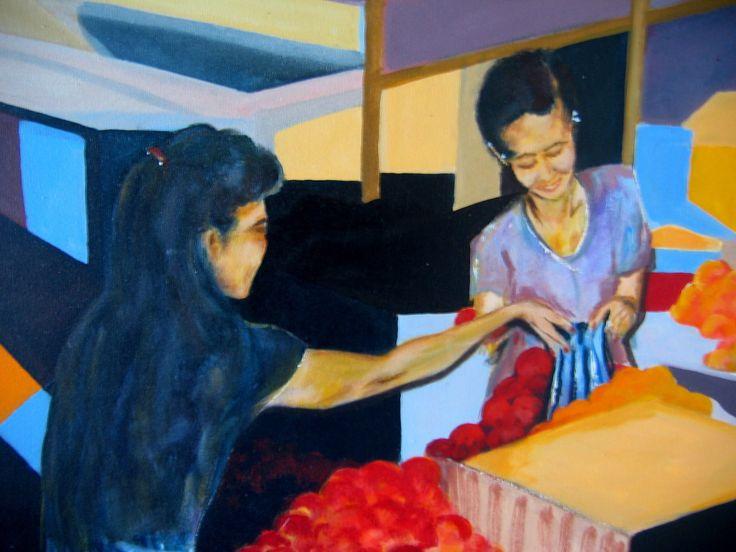 By Brian Alexander. Fruit market Denpasar.#acrylic on canvas #