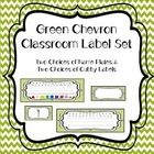 Green chevron classroom set. Two types of cubby labels; numbered and blank for writing names. Two types of name plates; print, color and shapes for lower elem and cursive for upper.