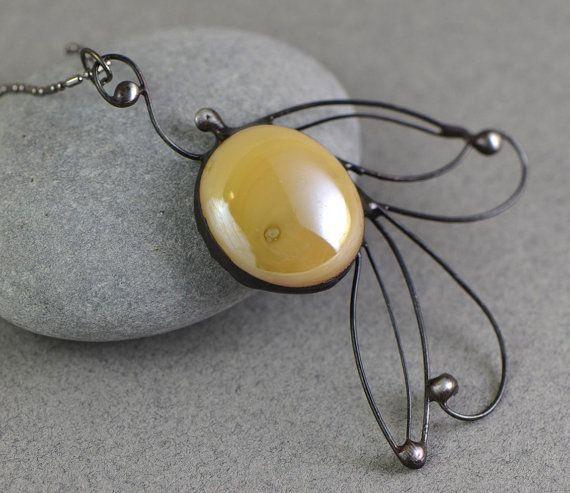Stained glass necklace OAAK jewelry beige cream by OrioleStudio