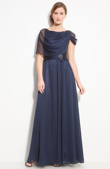 Adrianna Papell Beaded Draped Chiffon Gown available at #Nordstrom