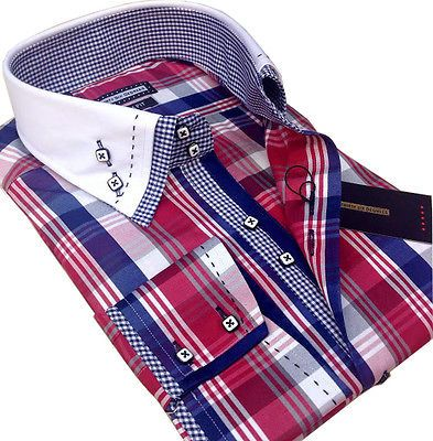 New Mens Smart Casual, Red Blue White Check Double Collar Italian Slim Fit Shirt