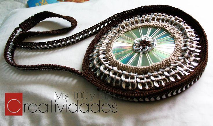 Mis 100 y más creatividades: Bolso con CD y Anillas de Refresco de Lata.. Free video for making this pop top and CD recycled purse!