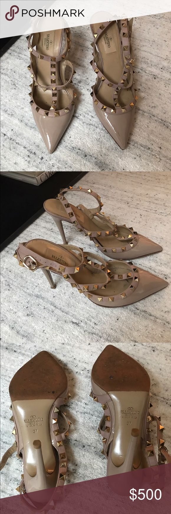 Valentino Rockstud Pumps size 37 Valentino nude patent rockstud pumps size 37 in great condition with rubber sole. 110mm Valentino Shoes Heels