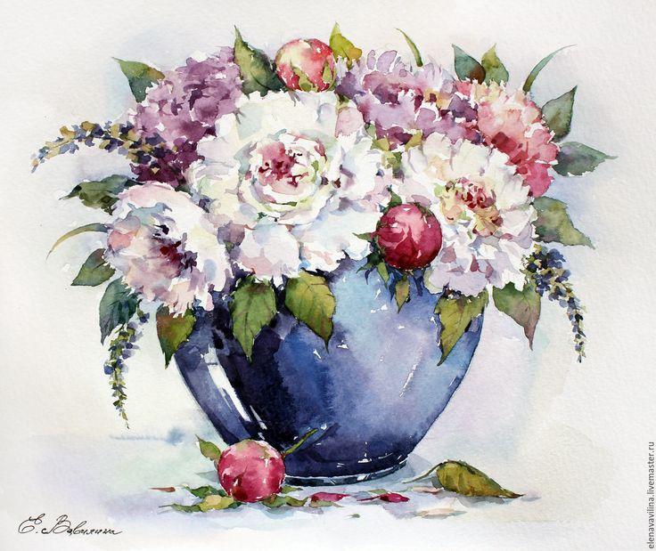 Купить Пионы в синей вазе - бледно-розовый, синий цвет, Ультрамарин, букет, нежность, пионы