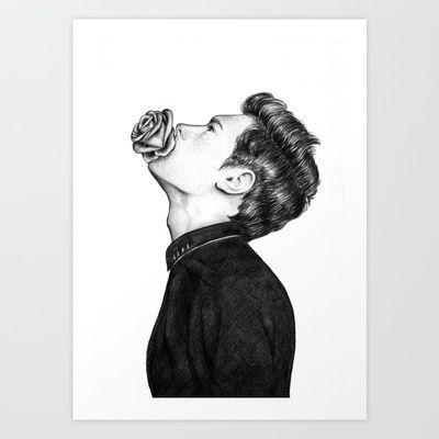 Mouth Flower // Graphite Art Print by Sofia Azevedo - $18.00