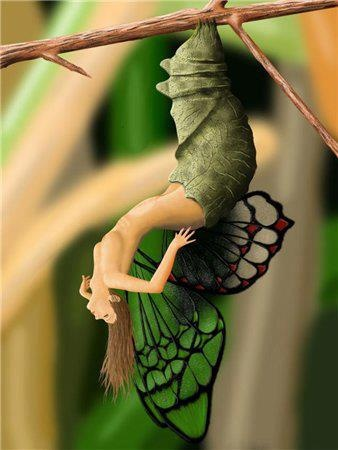 Human-butterfly getting out of its chrysalis.