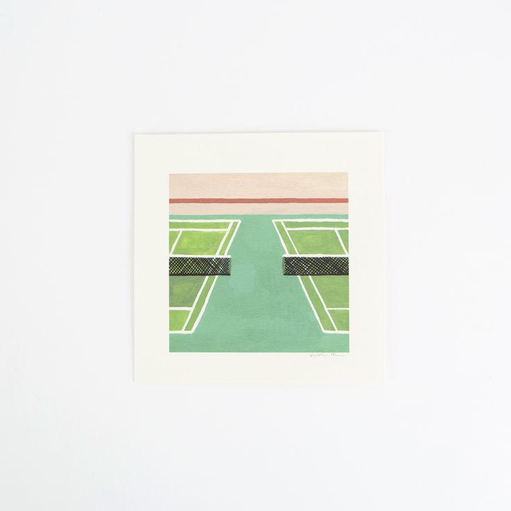 """Inspired by a love for the colors, lines, and textures found on tennis courts. This design was hand painted and then printed to its original size of 6"""" x 6"""" with a one inch border all around, on high quality, archival, natural white woven paper using 100% archival, acid-free inks. The print measures a total of 8"""" x 8""""."""