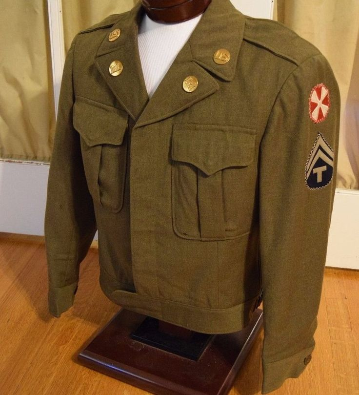 WWII WW2 Eisenhower IKE Style Army Field Jacket OD Wool with Patches Pins 36S