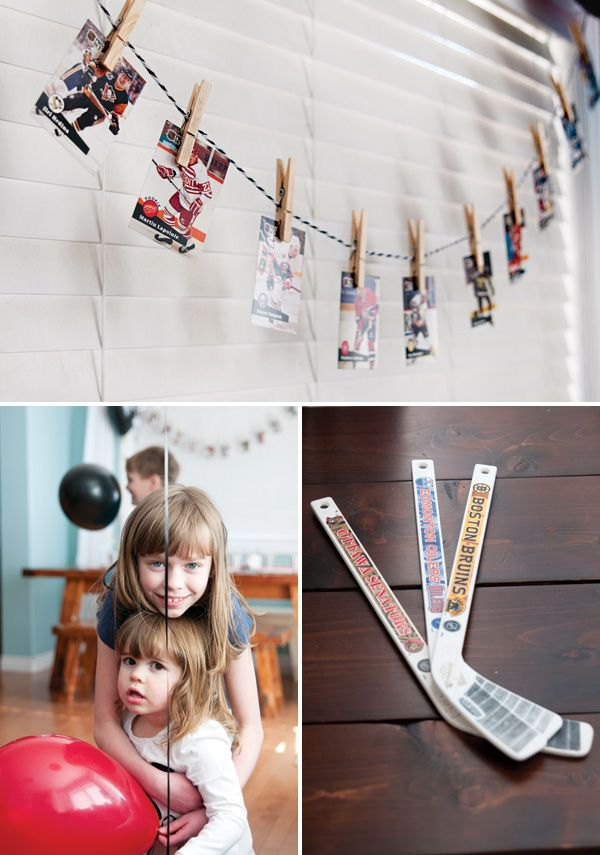 Hockey Birthday Party -- LOVE the hockey card banner!