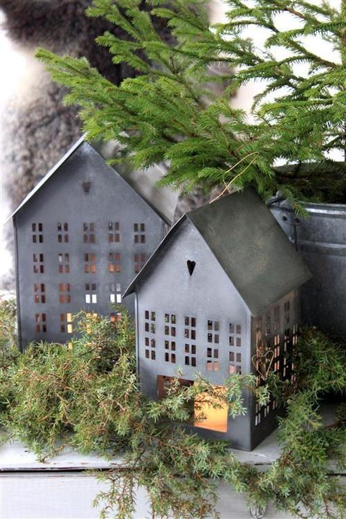 Christmas Display of Tin Houses