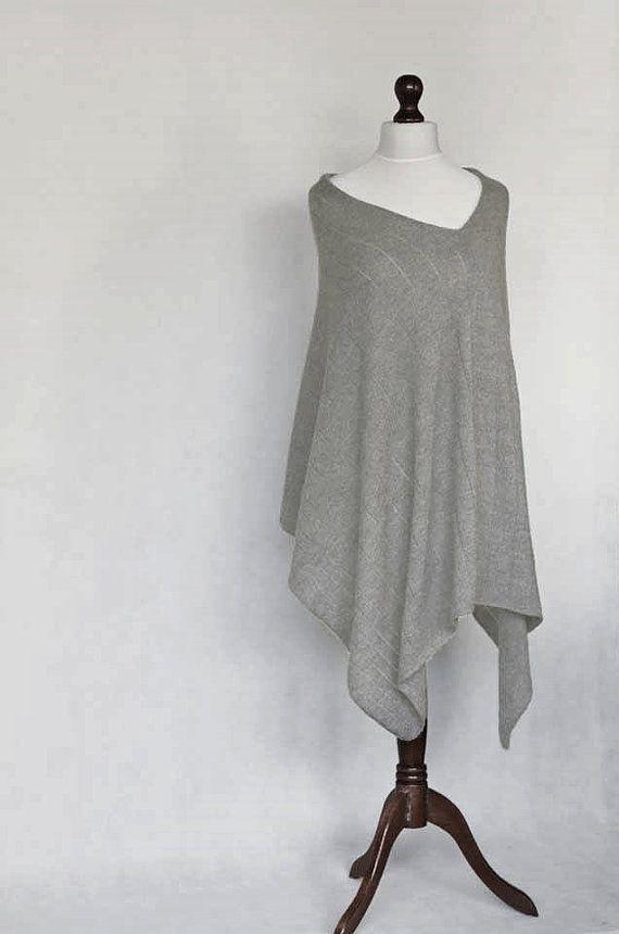 Alpaca poncho knit poncho gray poncho gray by KnitwearFactory
