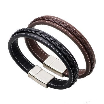 Punk Leather Woven Buckle Men Bracelet Wristband Gift