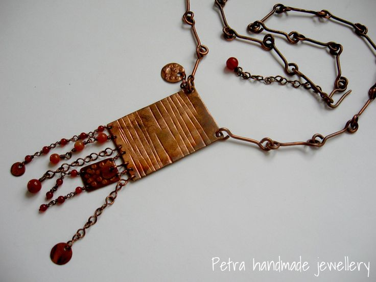 """Rose Beauty"" oxidized copper necklace, carnelian and red agata beads"