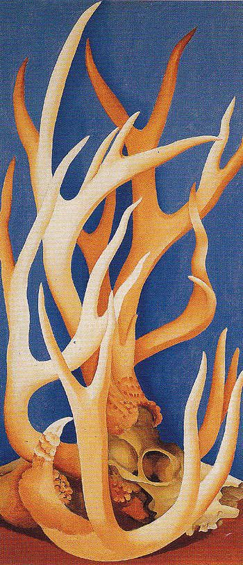 "I like the way she's painted the horns like trees and branches mixed together  Georgia O'Keeffe - ""Deer Horns"" {1938)"