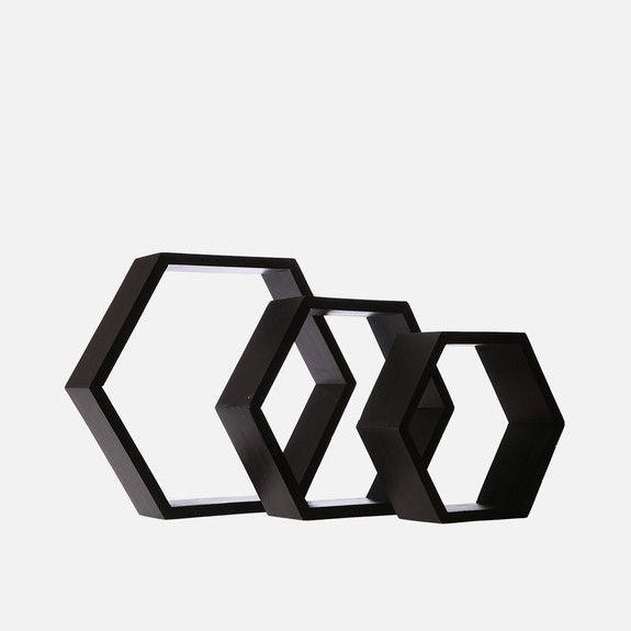 B&K Design and Decor - Hexagon Shelf Set of 3