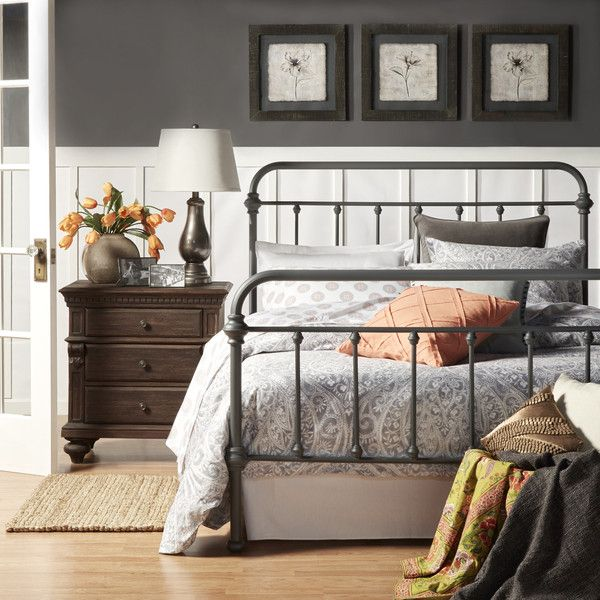 Tribecca Home Giselle Dark Grey Graceful Lines Victorian Iron Metal... ($380) ❤ liked on Polyvore featuring home, furniture, beds, grey, iron twin bed, metal twin bed, iron bed, full size bed and twin headboard