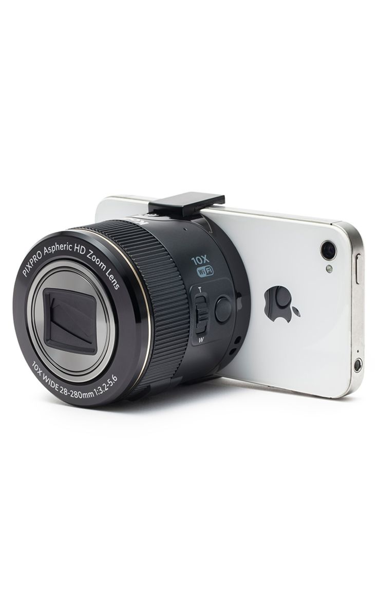 Though the Kodak Pixpro SL10 16MP Smart Lens Camera looks like a DSLR lens, it's actually a compact camera  that clips onto your smartphone. Use the screen as a viewfinder to take sharper photos and video than a typical phone camera is capable of.