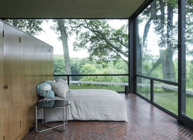 The Glass House bedroom with new bedding from Rough Linen | Remodelista